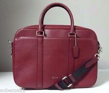 Coach Crossgrain Leather Slim Briefcase in Black Cherry F71681 Msrp $595.00