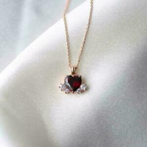 """2Ct Heart Cut Red Garnet Solitaire Pendant 14K Yellow Gold Finish 18"""" Free Chain"""
