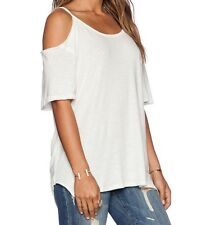 FREE PEOPLE WE THE FREE AFTER PARTY IVORY SHORT SLEEVE COLD SHOULDER TOP Sz M