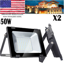 2X 50W Watt LED SMD Flood Light Warm White Outdoor Security Work Spotlight 110V