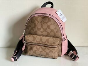 NEW! COACH KHAKI BLUSH PINK SIGNATURE MINI CHARLIE TRAVEL BACKPACK BAG $295 SALE