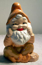 Ceramic Bisque Gnome Sitting Delightfully Painted w/High Gloss for Your Garden!