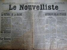 WW1 OFFENSIVE BELGE ET RUSSE MARNE VICTOIRE LE NOUVELLISTE DE LYON 14/9/1914