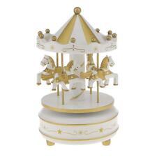 Horse Carousel Music Box Roundabout Musical Clockwork Kid Toy White Golden