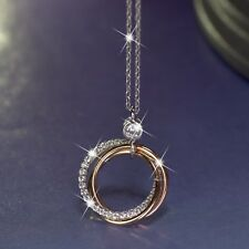 18k white yellow rose gold gf simulated diamond 3 ring pendant chain necklace