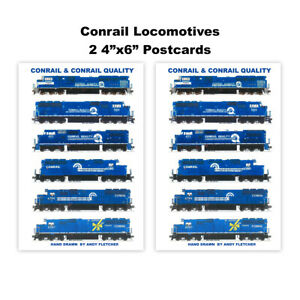 "Conrail Locomotives 2 4""x6"" Postcards Andy Fletcher"