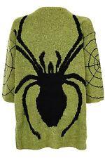 Rockabilly años 50 Verde Negro Araña puentes Calavera Punk Goth Vestido Bnwt Talla