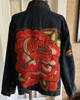 Chico's Denim Size 2 XL Rose Embroidered Denim Jacket Boho Chic