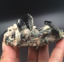 195g NATURAL Beautiful Black Crystal & feldspar & Epidote Point Specimen Y86-1