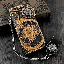 Toolen Flower Thick Leather Card Holder  Mens Biker Chain Wallet HandBag Purse
