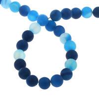 Natürliche Streifen Achat Perlen Matte Blau 4mm Edelsteine Achatstein G840