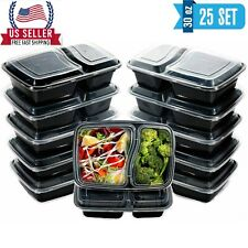 50pcs 30oz Meal Prep Containers 2 Compartment with Lids Food Storage 25 set