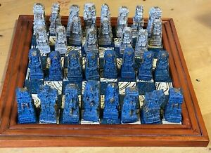 Vintage Aztec Mayan Conquistador Blue & White Hand Carved CHESS Set Complete