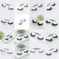 Soft Design 3D 100% Real Mink False Eyelashes Cross Messy Eye Lashes 1 Pair New