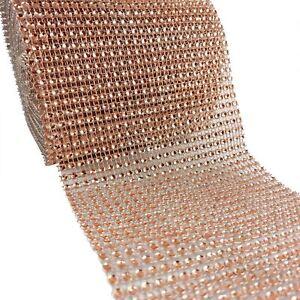 Rose Gold Diamante Effect Mesh Roll 24 Rows - Crystal Gemstone Band Mesh Ribbon