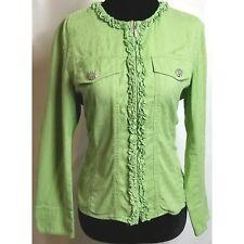 Coldwater Creek green zip up brocade ruffle jacket PS