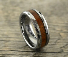 Tungsten Carbide Wedding Band 8mm,Koa Wood,Faceted Cut Edges,Promise,Comfort Fit