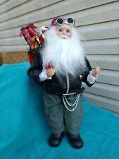 "Santa Biker Doll 19"" Tall-Motorcycle Boots-White Beard-Doo Rag-Man Cave-Harley"