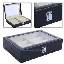 8 Grid PU Leather Sunglasses Eyewear Display Rack Case Jewelry Box Holder Tray