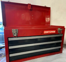 Craftsman 3-Drawer Portable Tool Chest Sturdy Latches Flip-Up Handle Steel Red
