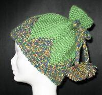 ORIGINAL Knitting PATTERN - Lovely Cute Green Pom Pom Ski Hat Beanie