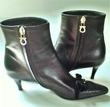Salvatore Ferragamo Women's Black Leather Ankle Boots with Horseshoe Logo SZ 7AA