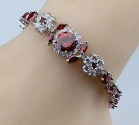 Red Garnet  White Topaz Tennis Gemstone Bracelet Bangle 925 Sterling Silver