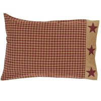 NINEPATCH STAR Burgundy Check Standard Pillow Case Set/2 Country Red Primitive