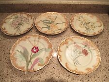 5 Hand Painted Haviland & Co Floral Salad/Desert Plates