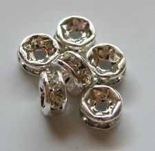 50pcs 4mm Bright Silver Mideast Rhinestone Crystal Rondelle Spacers