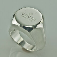 GUCCI STERLING SILVER HEAVY MEN'S RING size 8.75 made in Italy