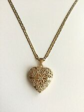 "18K GOLD FILLED HEART LOCKET NECKLACE 18""/ CADENA DE CORAZON 18"" LARGO -27X20mm"