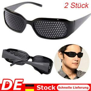 2Stk Rasterbrille Pinhole Lochbrille Sehkorrektur Brille Augentraining Sehhilfe