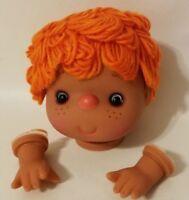 "VTG  Darice Craft 4"" Vinyl Doll Head & Hands Orange Yarn Hair Dark Skin 50018C"