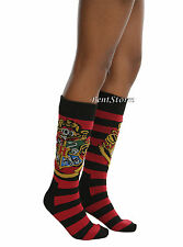 Harry Potter Hogwarts School Crest Striped Thick Knee-High Sweater Socks 1PR NEW