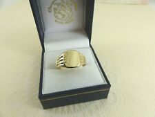 Gents 9ct 9carat Gold Square Patterned Signet Ring  Size S
