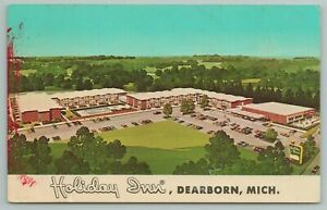 Dearborn Michigan~Aerial View Of Holiday Inn Hotel Building~Vintage Postcard