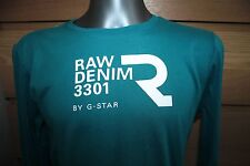 G-STAR Raw Denim 3301 T-shirt Green/blue Unisex . 100% Cotton Size L