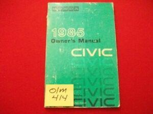 1985 HONDA CIVIC SEDAN, 1300 &1500 HATCHBACK MODELS OPERATING OWNER'S MANUAL GC