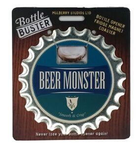 Beer Monster Bottle Buster 3 - 1 Bottle Opener Coaster Fridge Magnet Rock Metal