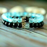 2Pcs/Set Distance CZ Crown Couple Bracelets Her King His Queen Beads Bracelets