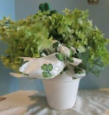 Home Decor March/St. Patty Day Flowers Artificial GREEN CARNTAITONS WHITE POT
