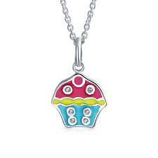 Blue Pink Yellow Birthday Cupcake Pendant Necklace Sterling Silver
