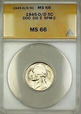 1945-D/D RPM-2 DDO DIE 5 Wartime Silver Jefferson Nickel 5c Coin ANACS MS-66 (G)