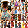 US Women Short Sleeve Wrap Boho Floral Mini Dress Ladies Summer Sundress Holiday