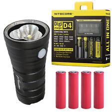 Niwalker MM25MB V2 Flashlight 8600Lm w/4x Sanyo Panasonic Batteries + D4 Charger