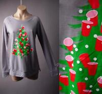 Red Party Cup Ugly Christmas Tree Graphic Holiday Taupe Tee Top 212 mv Shirt M L