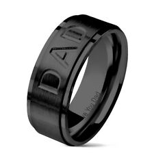 "Mens DAD Ring Black Stainless Steel Ring Message ""Love You Dad"" 8mm Christmas"