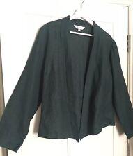 Ladies EAST Dark Green 100% LINEN Blazer Jacket Size 12 summer holiday cover up