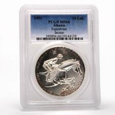 Albania 10 leke Equerestian Horse and rider Incuse PCGS MS66 silver coin 1991
